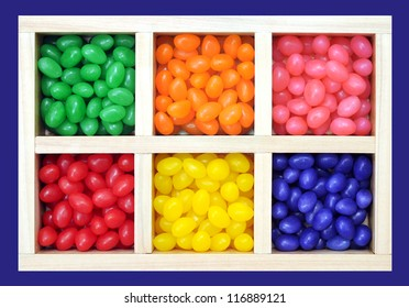 Colorful jelly bean candies in grid tray