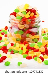 colorful jelly beans in glass jar