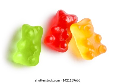 Colorful jelly gummy bears, isolated on white background