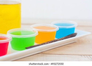 Colorful jelly is made from fruit juice.