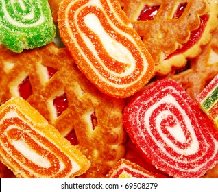 colorful jelly in sugar and biscuits