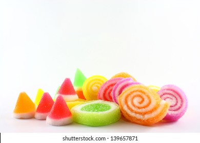 colorful jelly in sugar  on white