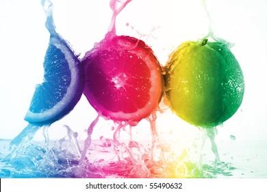 colorful juice splash on orange