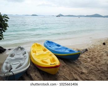 colorful kayak boat with the sea on background on summer time