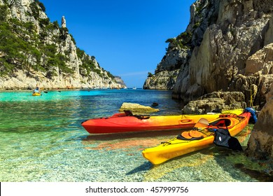 Colorful kayaks in the famous French fjords,Calanques national park,Calanque d'En Vau bay,Cassis,Marseille,southern France,Europe