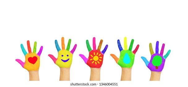 Colorful kid's hands with symbols of heart, smile, sun, water, tree painted on palms. Children, peace, summer, fun, joy, environmental protection, volunteering, ecology concept. Isolated on white.