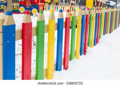 Colorful kindergarden fence