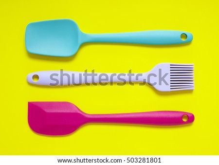 Colorful Kitchen Utensils On Bright Yellow Stock Photo (Edit ...