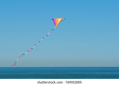 colorful kite flying in the sky - North Sea in Texel - Holland Netherlands