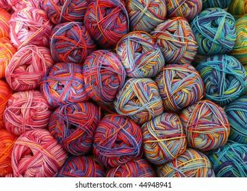Colorful knitting yarn balls