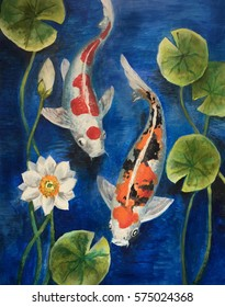 Colorful koi fish in a pond. Painting on canvas.