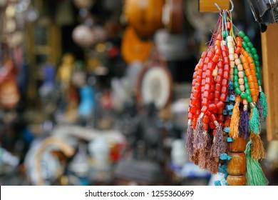 colorful komboloi in flea market in Monastiraki