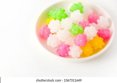 colorful konpeitou (japanese traditional sugar candy)