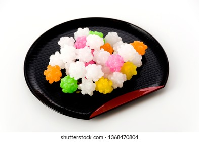 colorful konpeitou (japanese traditional sugar candy) on tray