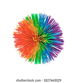 Colorful koosh ball isolated on white background.