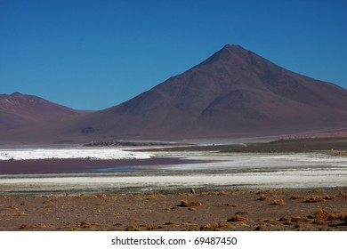 colorful lagoon in bolivia