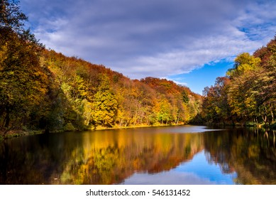 Colorful lake landscape, reflection in water, late autumn in Bratislava