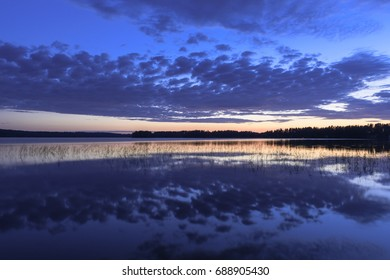 Colorful lake scenery in summer night