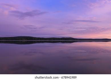 Colorful lake scenery in summernight