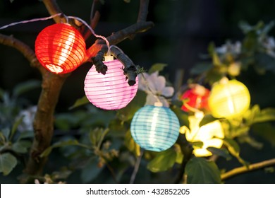 colorful lampions lanterns up a tree at night in the garden