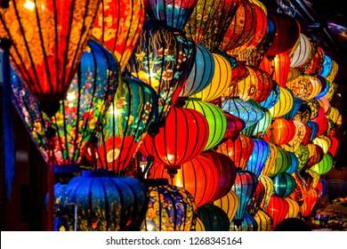 Colorful lampions at night