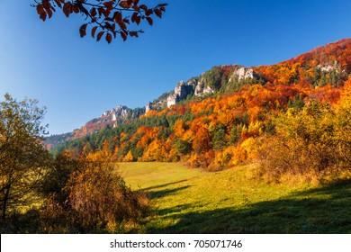 Colorful landscape in autumn, National Nature Reserve Sulovske skaly, Slovakia.