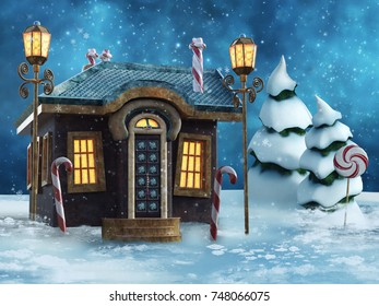 Colorful landscape with a fairytale gingerbread house. 3D illustration.