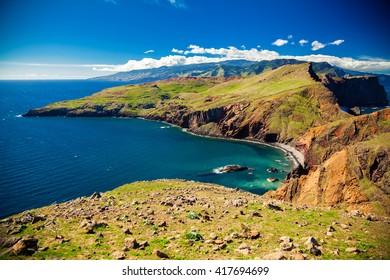 colorful landscape at Ponta do Sao Lourenco, Madeira, Portugal
