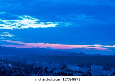 Colorful landscape view over Miskolc, Hungary, Europe at night.