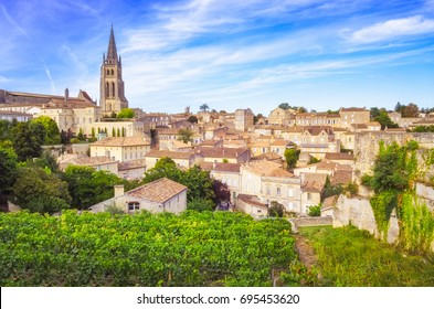 Colorful landscape view of Saint Emilion village in Bordeaux region, France