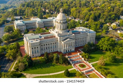 Colorful landscaping on the grounds at the capitol statehouse in Frankfort Kentucky USA - Shutterstock ID 1541574419