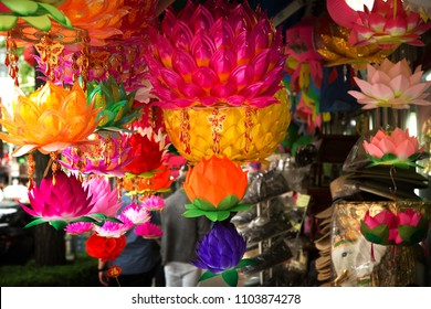 Colorful lanterns for sale on the street in South Korea