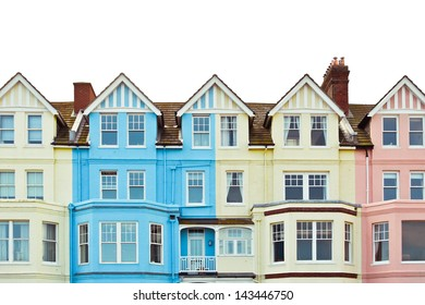 Colorful large seafront properties in Aldeburgh, UK