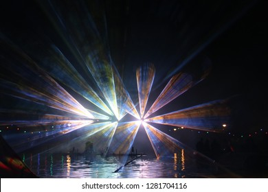Colorful lasershow at the ring canal Zuidplaspolder during the event in Nieuwerkerk aan den IJssel.
