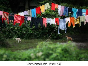 Colorful laundry on wire in the Gypsy neighborhood