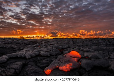 colorful lava sunrise at the 61g lava flow in Kalapana