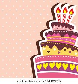 Colorful Layered Happy Birthday Cake Background with Text Space included