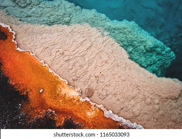 Colorful layers of microbes on the outer rim of Black Pool in the West Thumb Geyser Basin of Yellowstone National Park, Wyoming, USA.