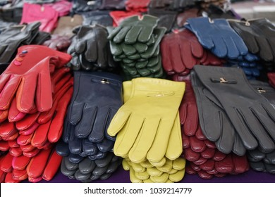Colorful leather gloves