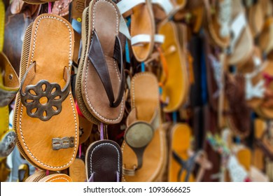 Colorful leather sandals in a Moroccan souk store