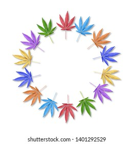 Colorful leaves of hemp or cannabis in round frame. Rainbow leaves frame. Mock up or template. Flatlay.