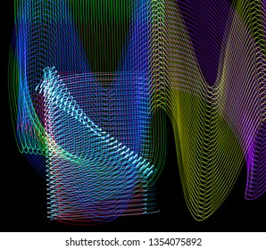 Colorful LED lights taken with long exposure photography resulting in one of a kind light designs. Colors include green, blue, red, purple, teal, aqua, gold, yellow and more.