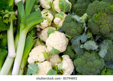 Colorful Leeks, Broccoli and Cauliflower at Farmer's Market