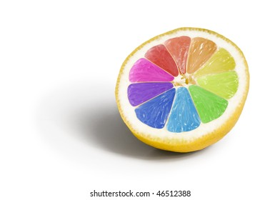 Colorful lemon genetically modified fruit