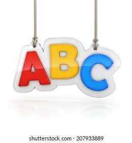 Colorful letters ABC hanging on white background
