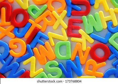 colorful letters. childhood education teaching.