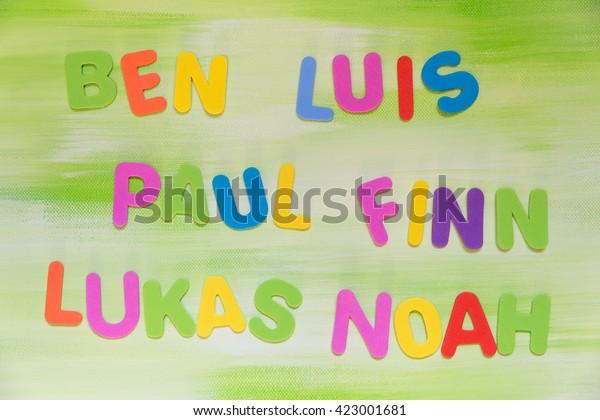 colorful letters, favorite boys names, ben, luis, paul, finn, lukas, noah