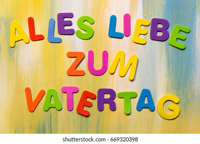 colorful letters, german text alles liebe zum vatertag, which means all love for father´s day