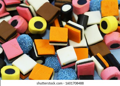 Colorful licorice candy as background.