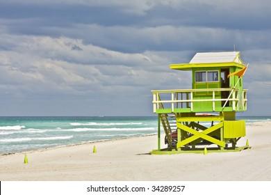 Colorful Lifeguard house in Miami Beach